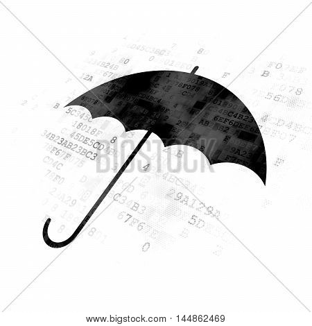 Privacy concept: Pixelated black Umbrella icon on Digital background