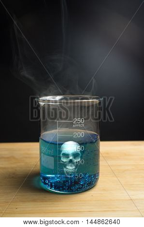 Close up glass measuring beaker with poison skull
