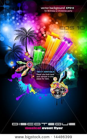 Disco Dance Tropical Music Flyer with colorful background