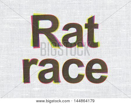 Business concept: CMYK Rat Race on linen fabric texture background