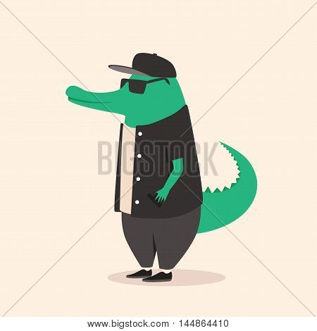 Animal in clothing. Casual style. Cartoon vector illustration. Anthropomorphism. Wildlife Crocodile