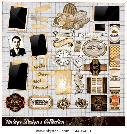 Vintage Elements Collection - PhotoFrames, Adhesive Straps, Vintage Labels, Complete Backgrounds, Ribbons, Fruits and so on