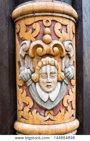 Old house detail on the manin square in Hildesheim Germany