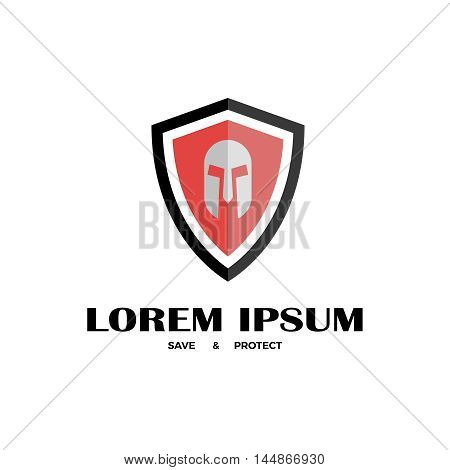 Vector illustration of shield with helmet. Company logo design template. Flat icon of shield with helmet.