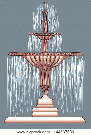 fountain with water stream splashing on ground