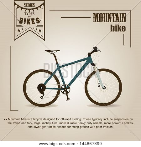 Vector series 'types of bikes'. Mountain bike