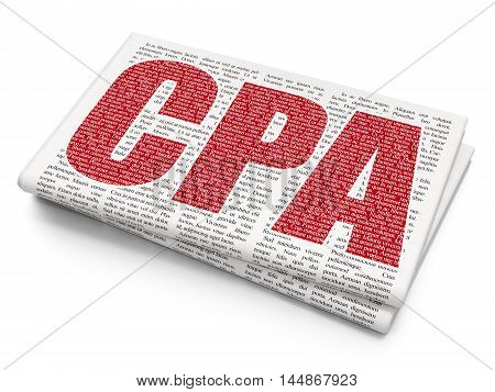 Business concept: Pixelated red text CPA on Newspaper background, 3D rendering