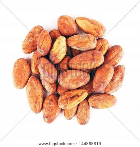 raw cacao beans, isolated on a white background