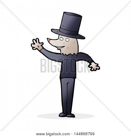 cartoon waving werewolf wearing top hat