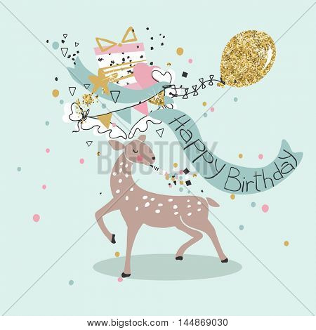 birthday card with deer