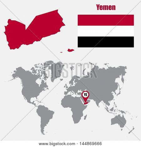 Yemen map on a world map with flag and map pointer. Vector illustration