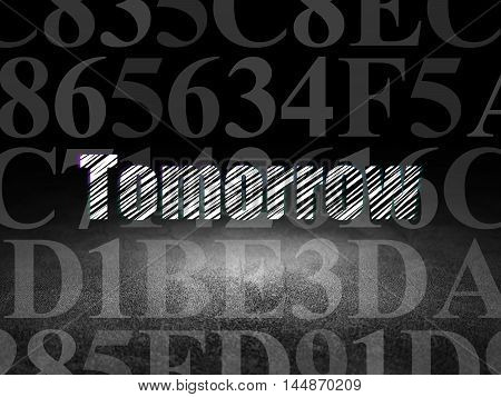 Time concept: Glowing text Tomorrow in grunge dark room with Dirty Floor, black background with  Hexadecimal Code