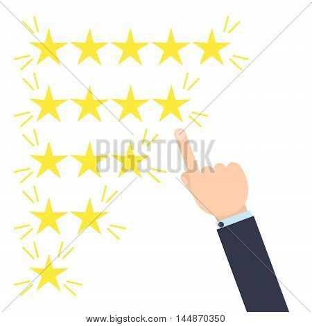 Customer good positive review design template on yellow background. Rating evaluation vector symbol. Five star business icon. Male hand pointing to four stars. Likes, approval, positive feedback sign