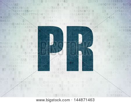 Marketing concept: Painted blue word PR on Digital Data Paper background