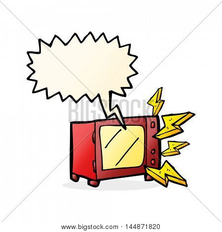 cartoon microwave with speech bubble