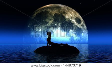 3D render of a female in a yoga pose in front of the moon