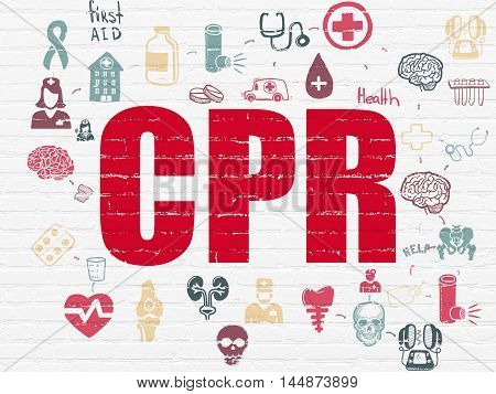 Medicine concept: Painted red text CPR on White Brick wall background with Scheme Of Hand Drawn Medicine Icons