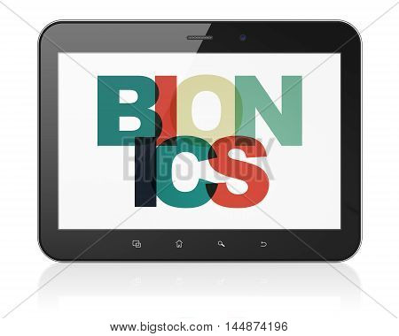 Science concept: Tablet Computer with Painted multicolor text Bionics on display, 3D rendering