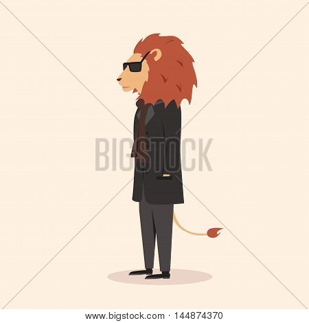 Animal in clothing. Casual style. Cartoon vector illustration. Anthropomorphism Lion