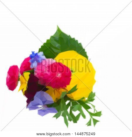 Low poly illustration Posy of pansies, daisies and ranunculus