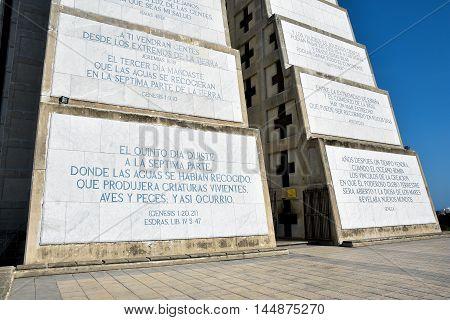 Exterior view of Christopher Columbus Lighthouse. Santo Domingo, Dominican Republic.