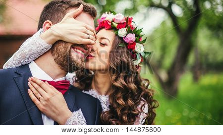 Wedding couple embracing each other. Moment of joy