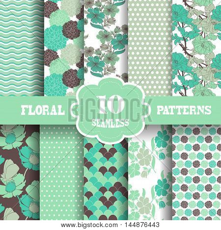 Set of 10 elegant seamless patterns with hand drawn decorative flowers design elements. Floral patterns for wedding invitations greeting cards scrapbooking print gift wrap manufacturing.