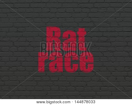 Politics concept: Painted red text Rat Race on Black Brick wall background