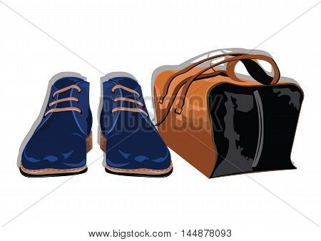Male shoes and bag. Set of trendy mens shoes and accessories. Mens wardrobe. Vector illustration
