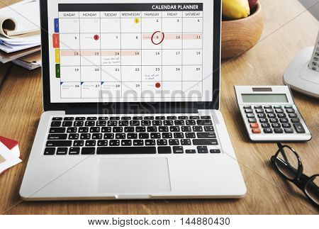 Notebook Calendar Laptop Appointment Schedule COncept