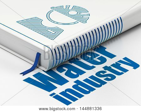 Industry concept: closed book with Blue Factory Worker icon and text Water Industry on floor, white background, 3D rendering