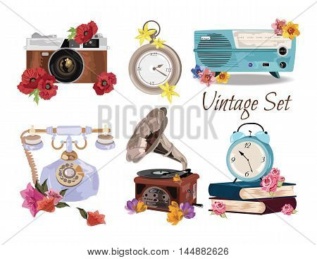 Antique Vintage Accessories set collection Vector. A collection or big set of hand drawn vintage styled elements