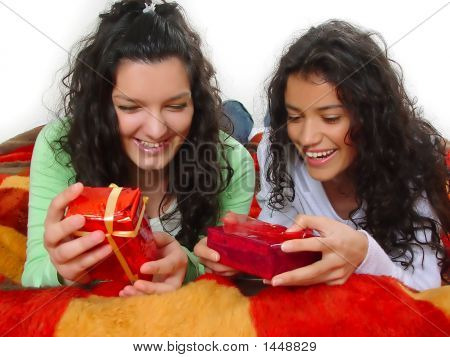 Two Beautiful Girls With Gifts