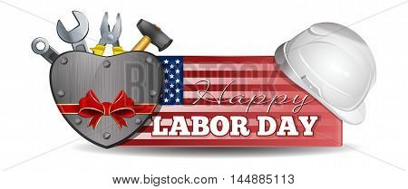 Labor Day design. Horizontal banner with an American flag helmet tools and lettering - Happy Labor Day