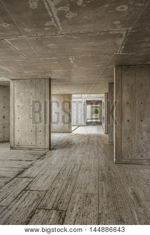 La Jolla, USA - December 10, 2015: Cement modern urban architecture of the Salk Institute in San Diego with dark passageway tunnel