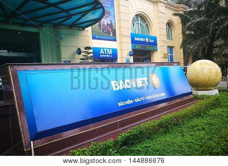 Hanoi, Vietnam - Aug 30, 2016: Front view of Bao Viet bank branch office on Le Thai To street near Hoan Kiem (Sword) lake. Bao Viet is the one of the biggest state owned banks in Vietnam.
