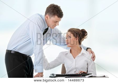 Job romance concept. Business people flitring.