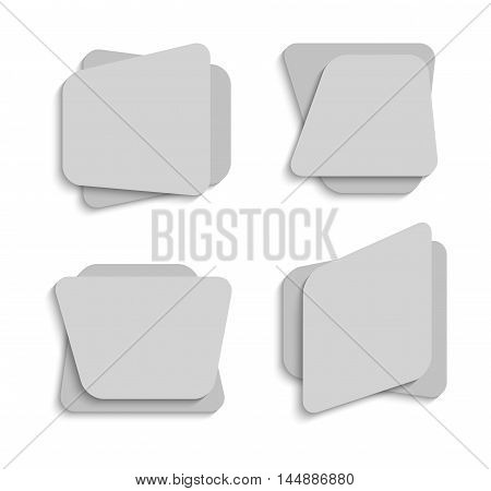 Set of creative paper banners with place for text. Vector illustration.