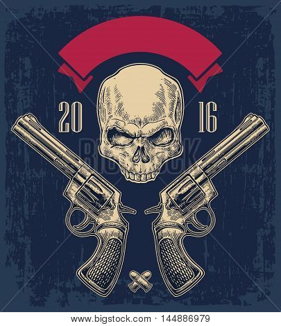 Two revolver with bullets skull and ribbon. Vector engraving illustrations.  On dark blue vintage background. For tattoo web shooting club and label