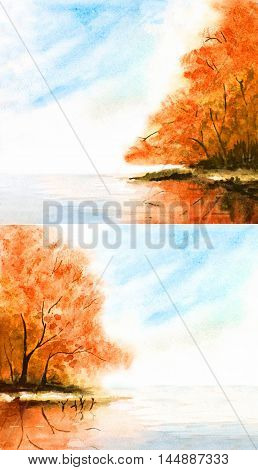 watercolor nature background with orange autumn trees and lake sky clouds