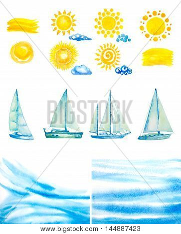 set of watercolor sun, clouds, yachts, abstract water waves