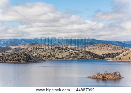 Valley lake reservoir near Mount Shasta in northern California poster
