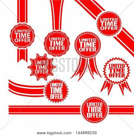 Limited Time Offer Signs Set, Limited Time Offerr Sticker Set, Vector Illustration