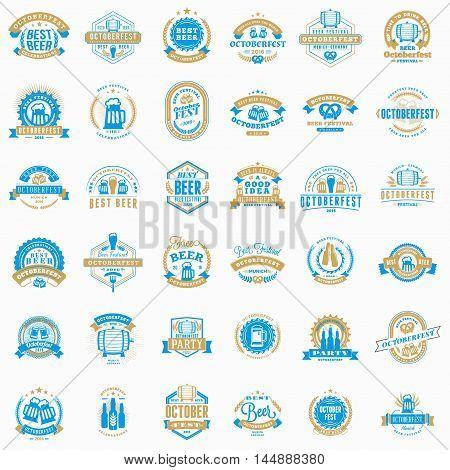 Beer Festival Octoberfest Celebrations. Collection Of Retro Vintage Beer Badges, Labels, Emblems. Ve