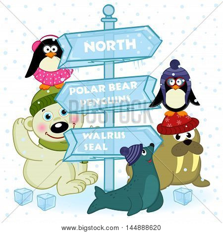north animals near ice sign - vector illustration, eps