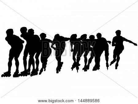 Boys on roller skates on white background