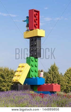 GUNZBURG GERMANY - AUG 18 2016: Sculpture build of giant lego blocks at the Legoland park entrance in Germany