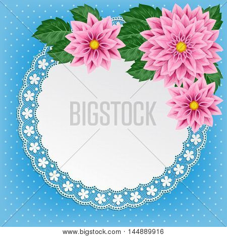 Vintage Floral Card With Lace Doily