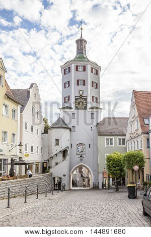 GUNZBURG GERMANY - AUG 17 2016: Historic Cow Tower and gate to the market place in Gunzburg Bavaria Germany