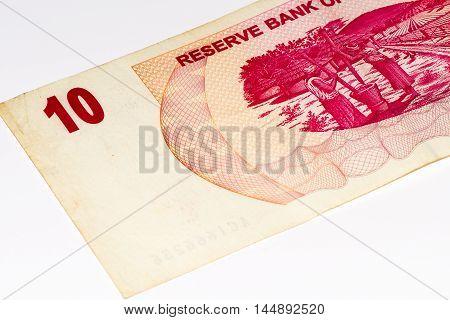 10 Zimbabwe dollars bank note. One of manny currences in Zimbabwe